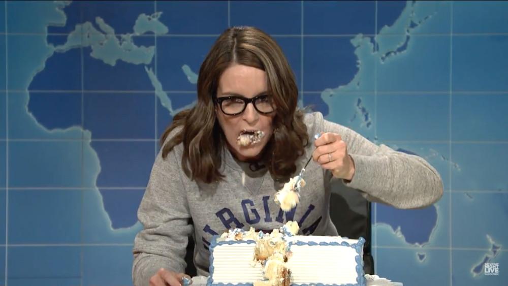 Tina Fey Sheet Cake  Tina Fey's 'Weekend Update' Takedown of President Trump
