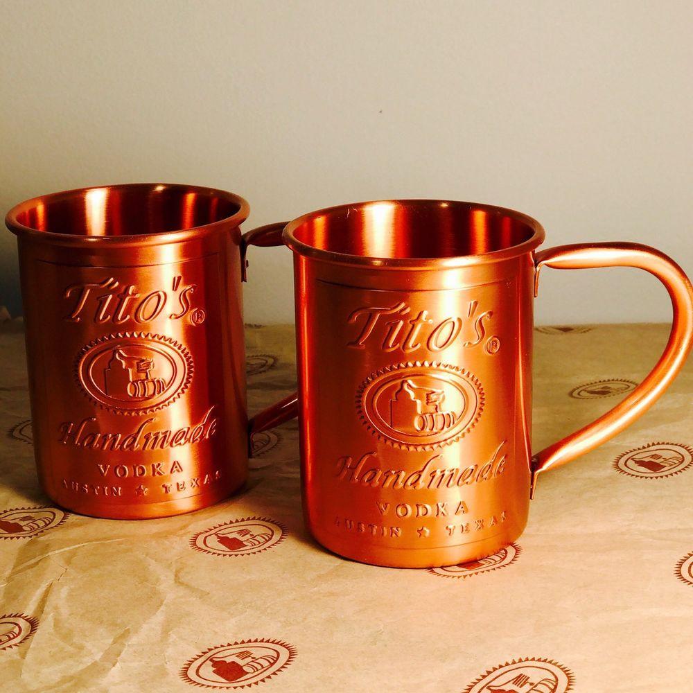Tito'S Vodka Drinks  2 Tito s Vodka Copper Moscow Mule Mug Set New 2x
