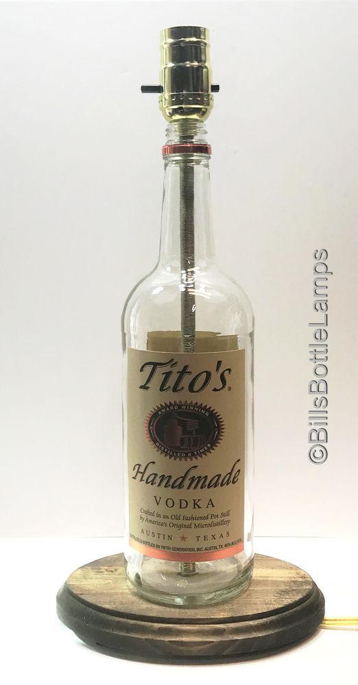 Tito'S Vodka Drinks  TITO S Vodka Bottle TABLE LAMP LIGHT w Wood Base & LED