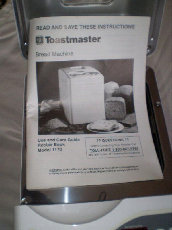 Toastmaster Bread Machine  TOASTMASTER Bread Box Model 1172 Bread Maker Machine NEW