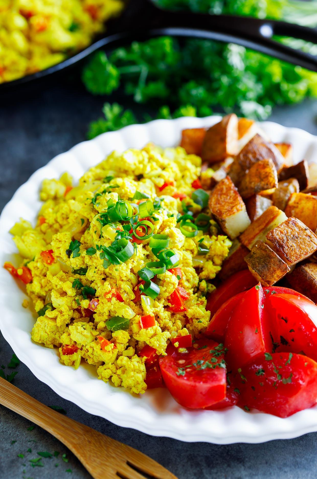 Tofu Breakfast Recipes  Garden Veggie Tofu Scramble Tasty Vegan Breakfast Recipe