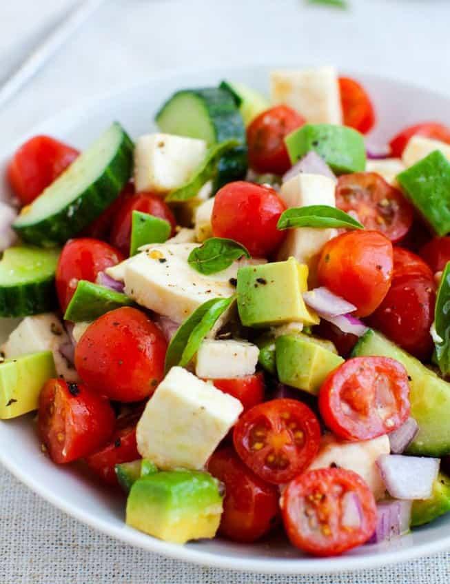Tomato And Mozzarella Salad  Tomato Cucumber and Mozzarella Cheese Salad Happily