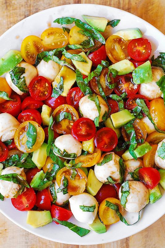 Tomato And Mozzarella Salad  Tomato Basil Avocado Mozzarella Salad with Balsamic