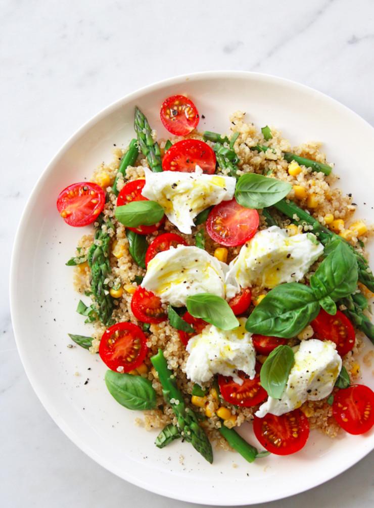 Tomato And Mozzarella Salad  Quinoa Asparagus Cherry Tomato and Buffalo Mozzarella
