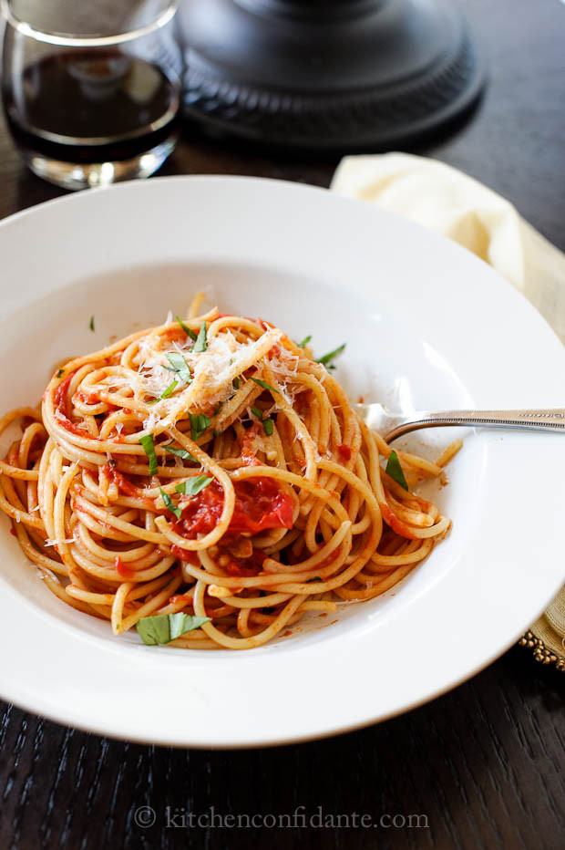 Tomato Basil Pasta Sauce  Spaghetti with Fresh Tomato Basil Sauce All Clad Sauté