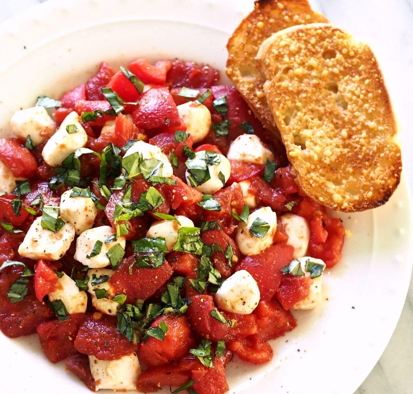 Tomato Caprese Salad  Roasted Tomato Caprese Salad Simply Sated