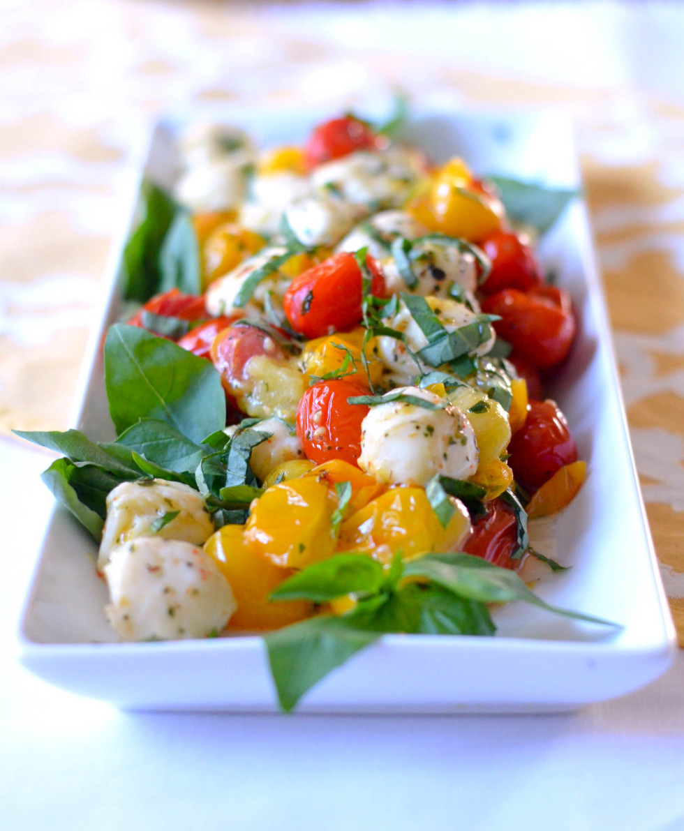 Tomato Caprese Salad  Baby Spinach Raspberry and Toasted Walnut Salad in