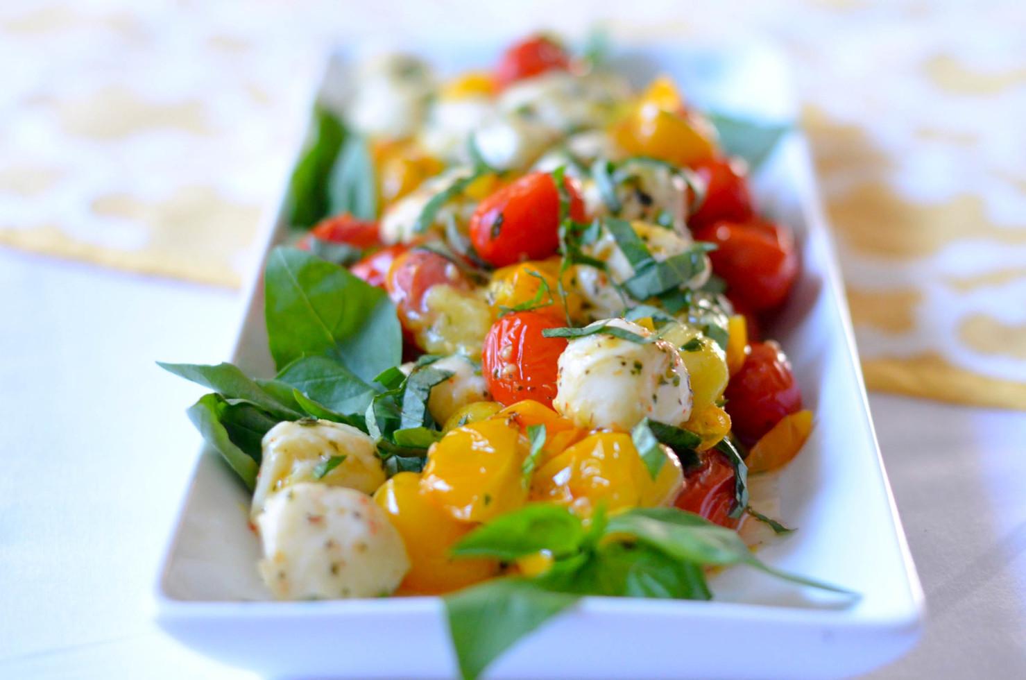 Tomato Caprese Salad  Roasted Heirloom Cherry Tomato Caprese Salad Karista s