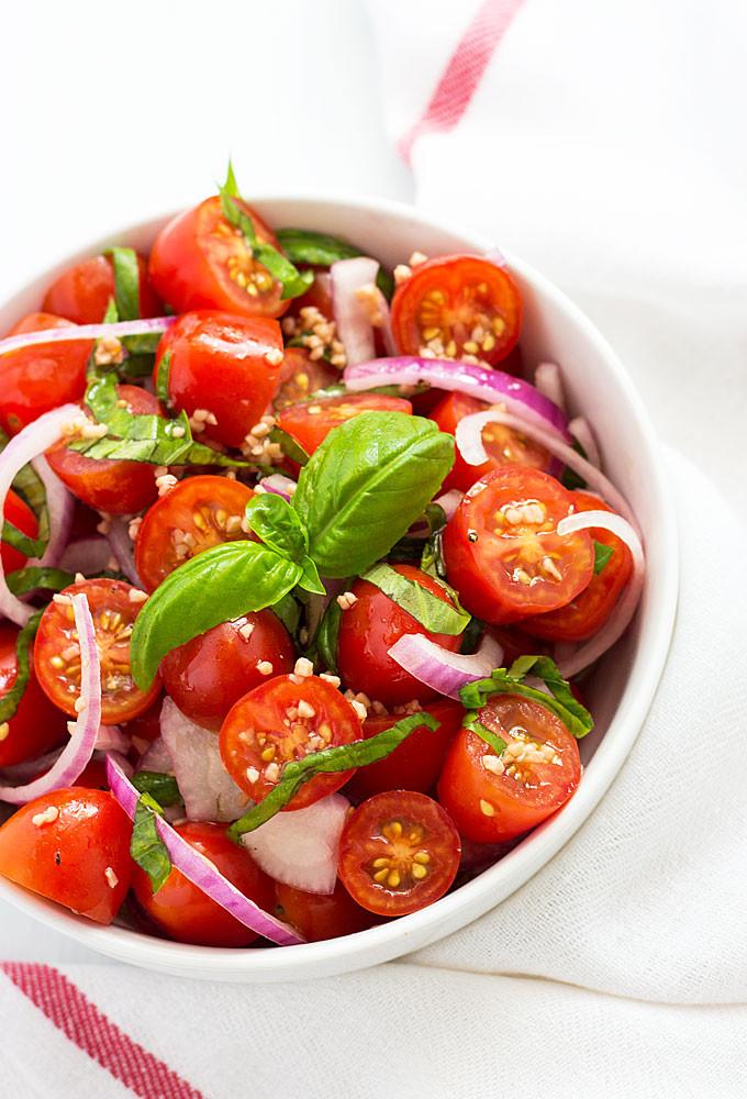 Tomato Onion Salad  Tomato Basil and Red ion Salad