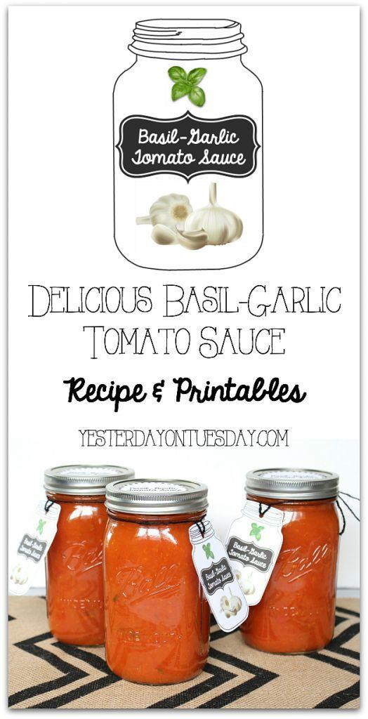 Tomato Sauce Canning Recipe  Delicious Basil Garlic Tomato Sauce Recipe and canning