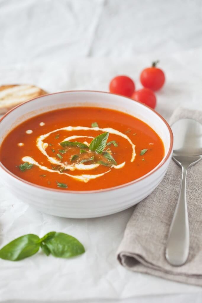Tomato Soup With Fresh Tomatoes  Tomato Soup from Fresh Ripe Tomatoes Vibrant Plate