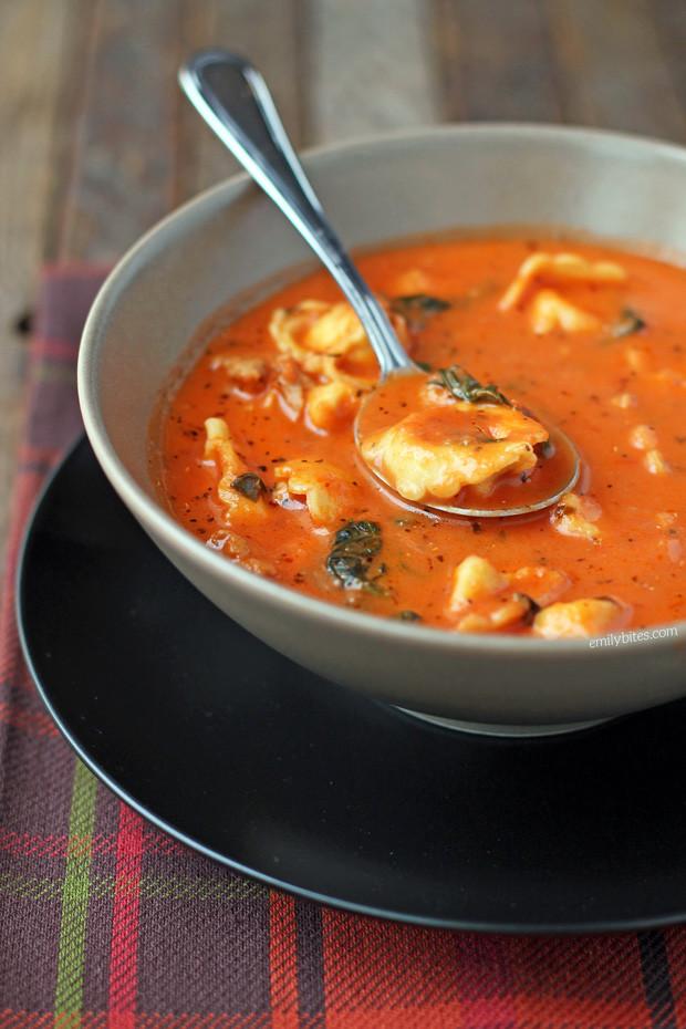 Tomato Tortellini Soup  Sausage and Tortellini Tomato Soup Emily Bites