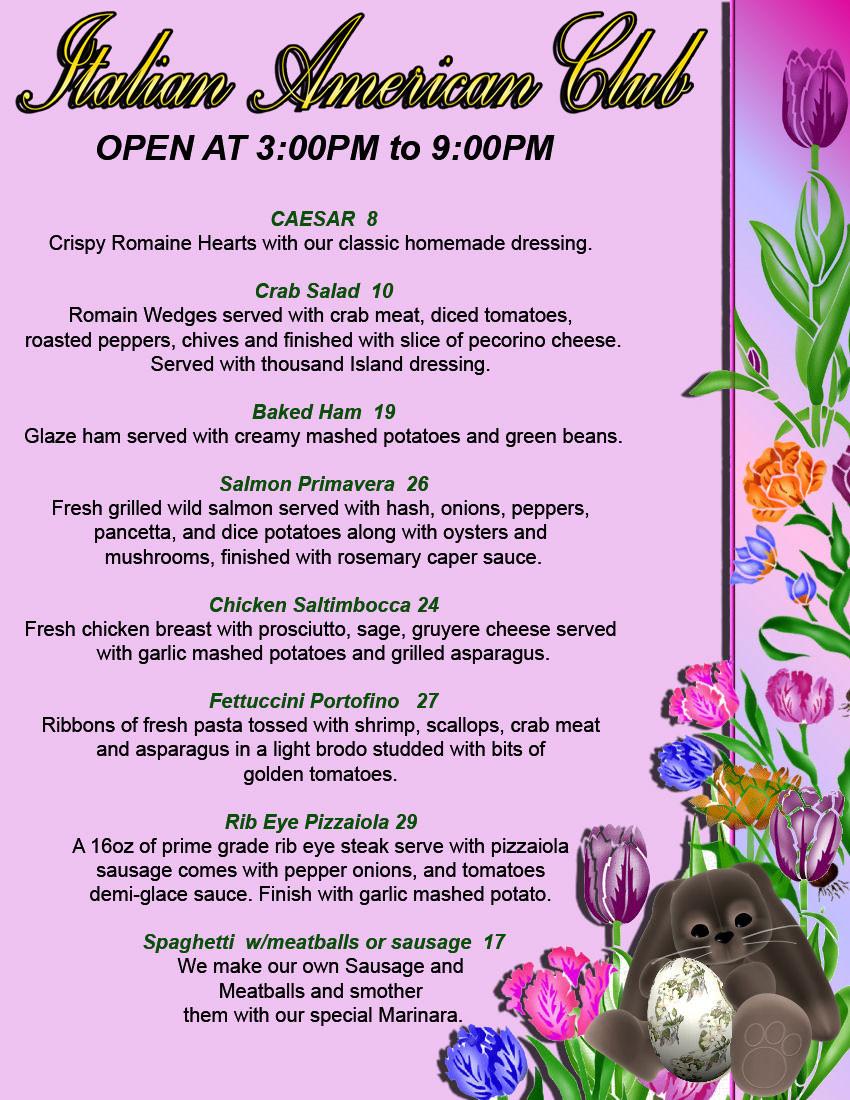 Traditional Easter Dinner Menu  Italian Restaurants At Italian American Club Las Vegas and