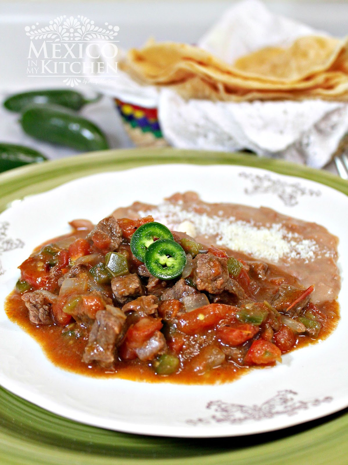 Traditional Mexican Food Recipes  A Beef Stew to serve with flour tortillas Traditional