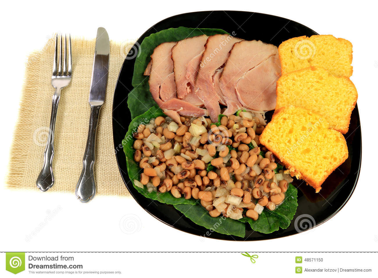 Traditional New Year'S Day Dinner  Served American South Tradition New Years Day Meal Stock