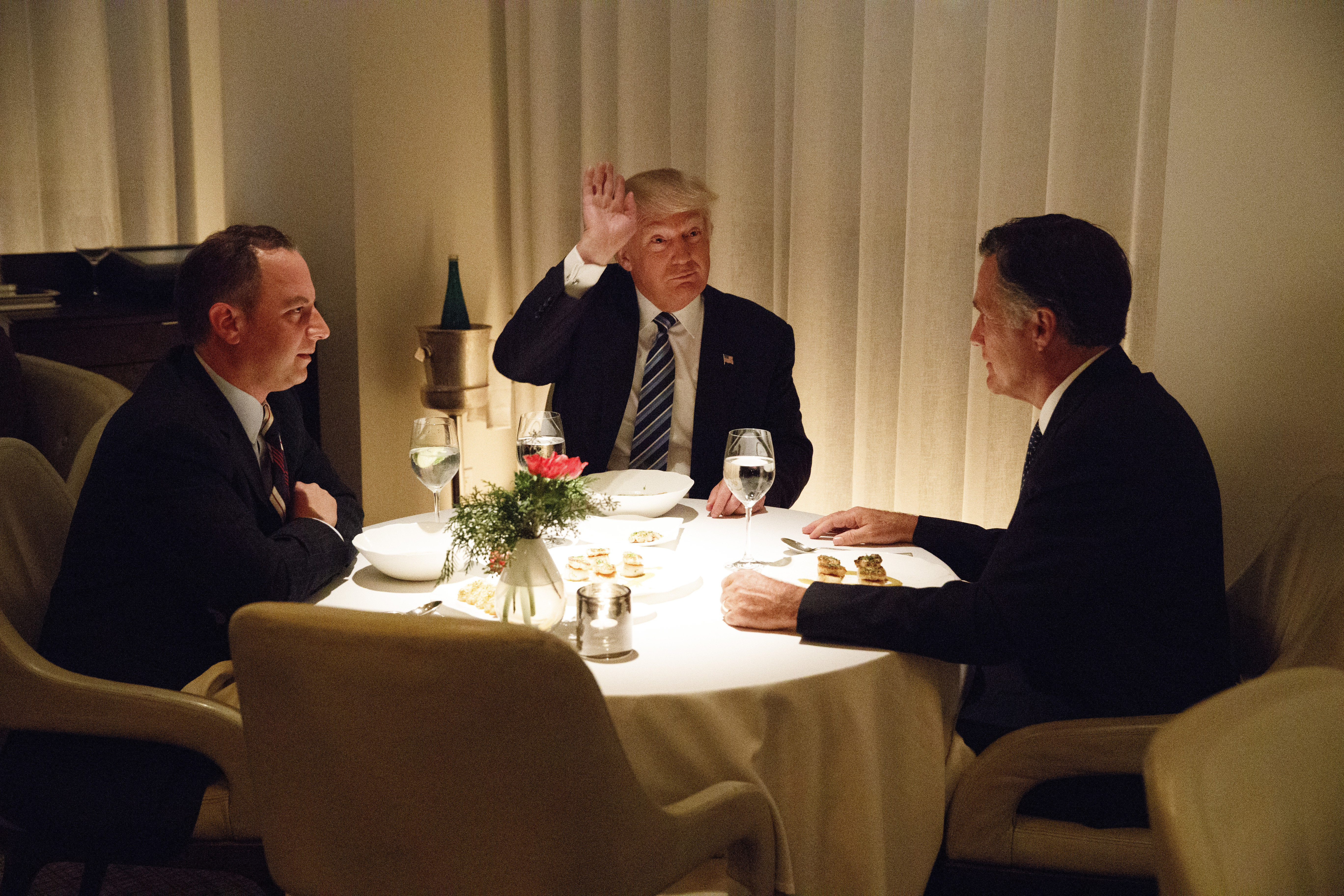 "Trump Romney Dinner  Newt Gingrich Mike Huckabee mock Mitt Romney for ""eating"