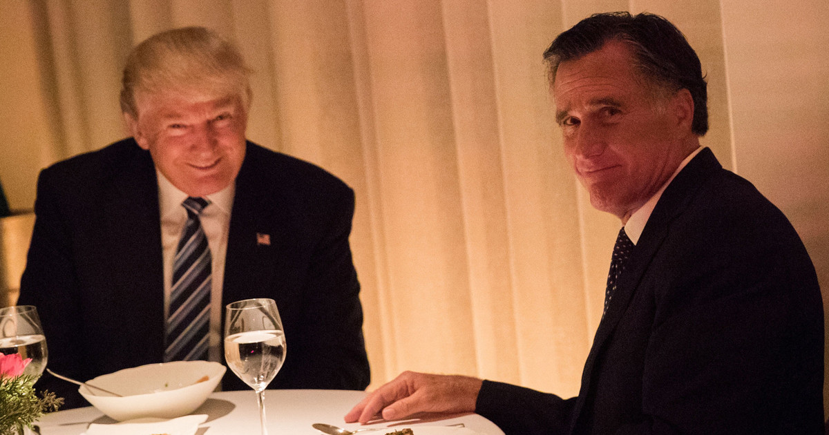 Trump Romney Dinner  Romney Forced To Have Intimate Dinner of Shame With Trump