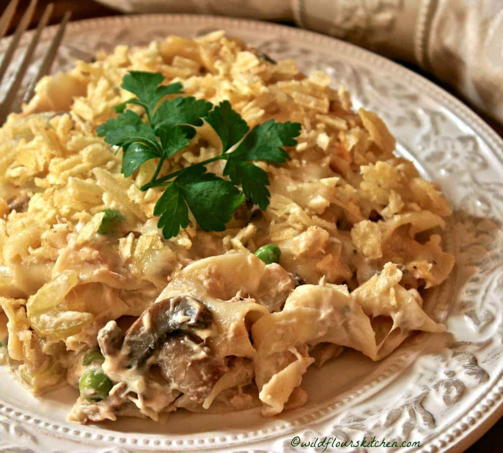 Tuna Casserole With Chips  Old School Tuna Noodle Casserole with Potato Chips n Peas