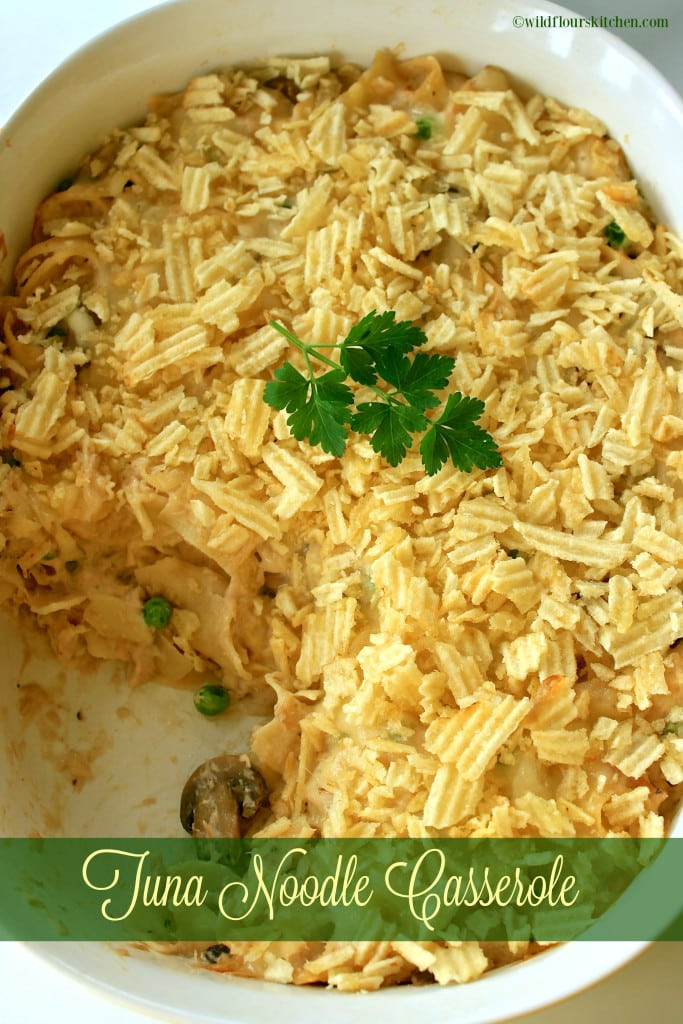 Tuna Noodle Casserole With Potato Chips  Old School Tuna Noodle Casserole with Potato Chips n Peas