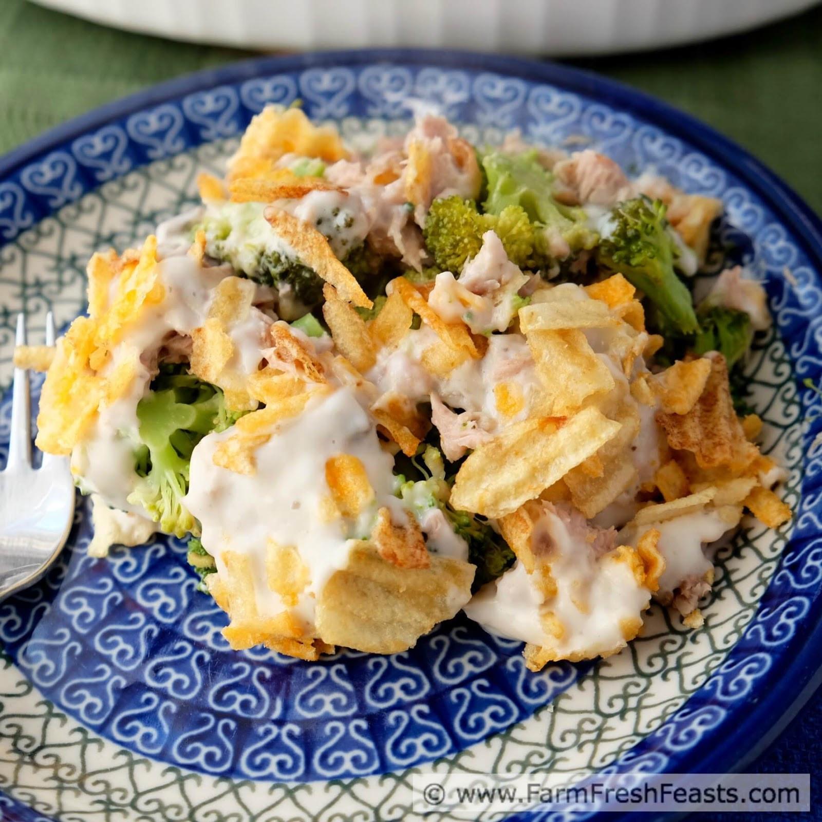 Tuna Noodle Casserole With Potato Chips  Farm Fresh Feasts Tuna Broccoli Casserole with Potato