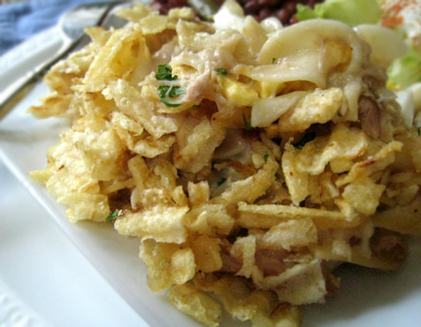 Tuna Noodle Casserole With Potato Chips  My Moms Tuna Casserole With Potato Chips And Eggs Recipe
