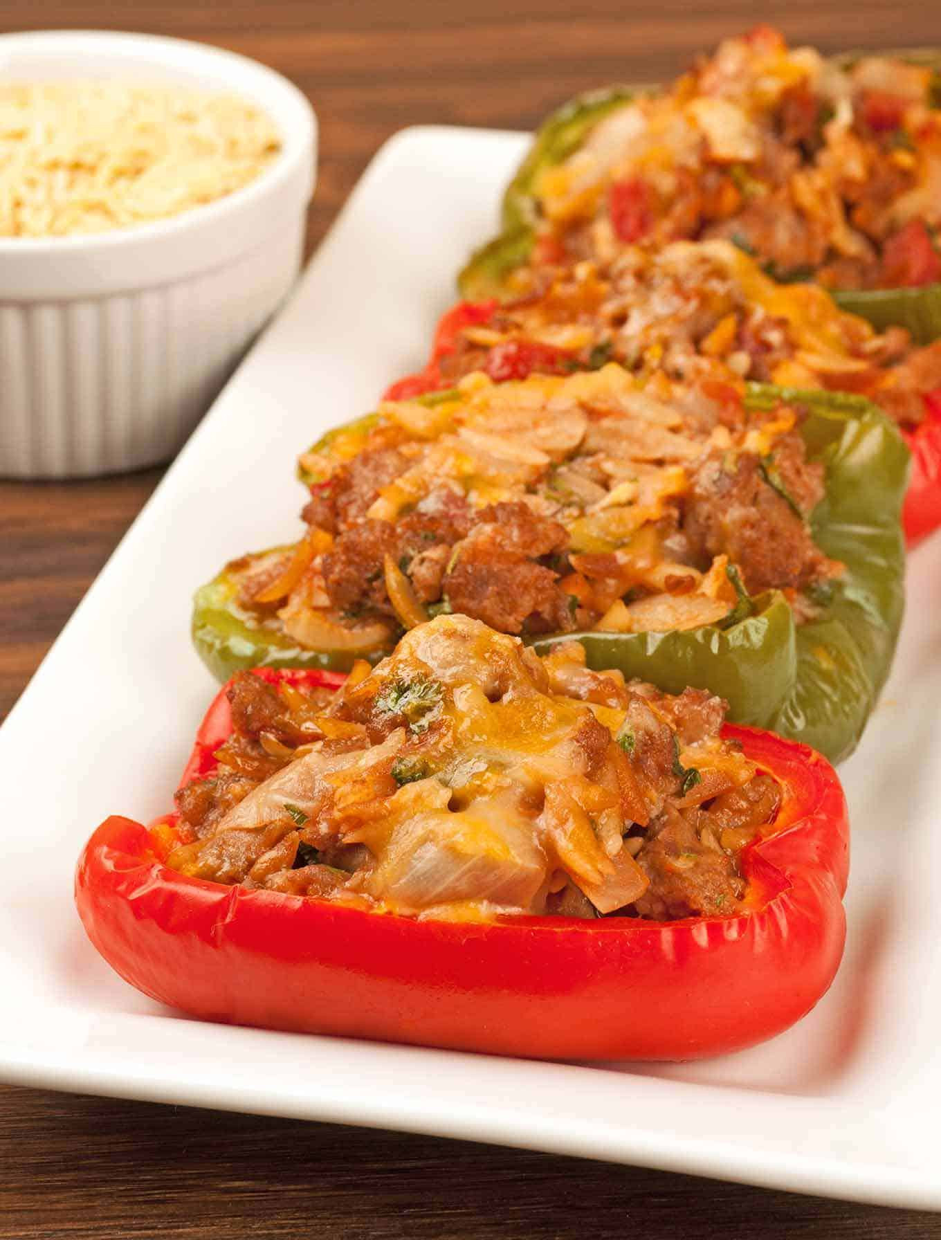 Turkey Sausage Recipes  Turkey Sausage and Orzo Stuffed Peppers Recipe