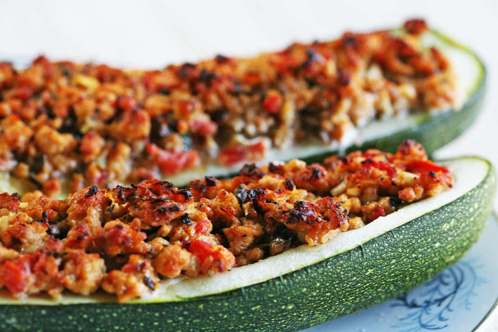 Turkey Sausage Recipes  Stuffed Zucchini with Turkey Sausage Recipe