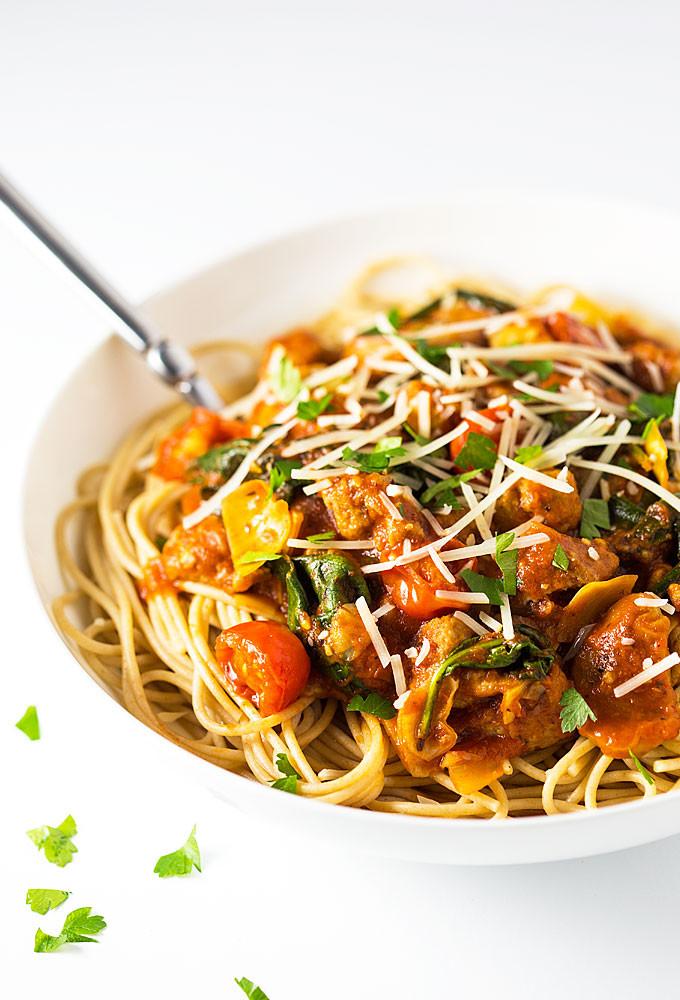 Turkey Sausage Recipes  Turkey Sausage Spaghetti Recipe