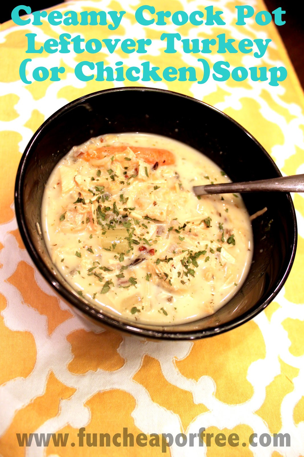 Turkey Soup From Leftover  Creamy Slow Cooker Turkey Soup de from Thanksgiving