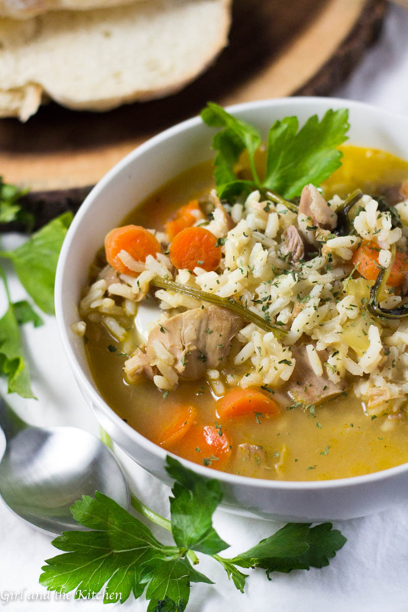 Turkey Soup From Leftover  Leftover Turkey and Rice Soup 30 Minute Meal Girl and