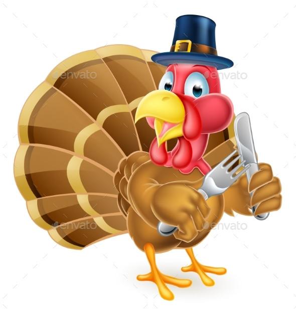 Turkey Thanksgiving Cartoon  Pilgrim Hat Thanksgiving Cartoon Turkey Holding by Krisdog