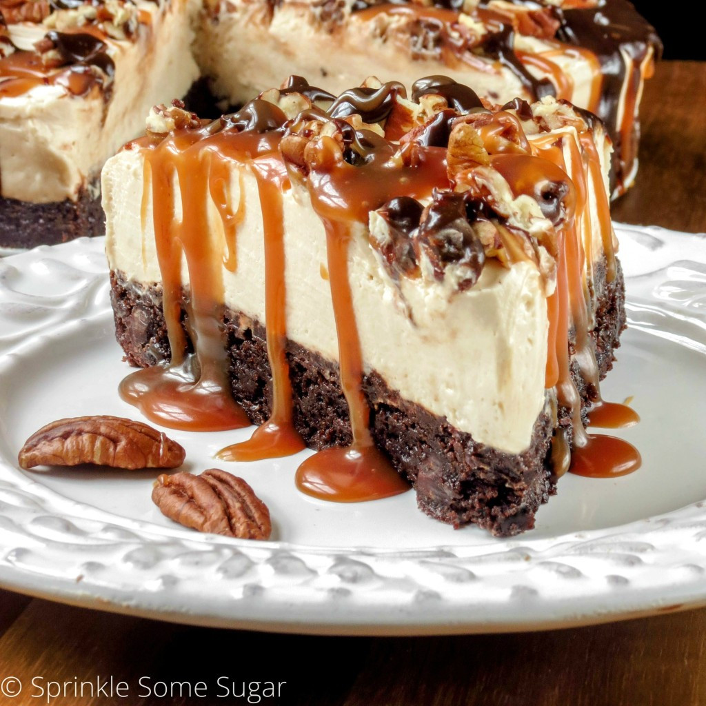 Turtle Cheesecake Recipe  No Bake Caramel Turtle Cheesecake Sprinkle Some Sugar