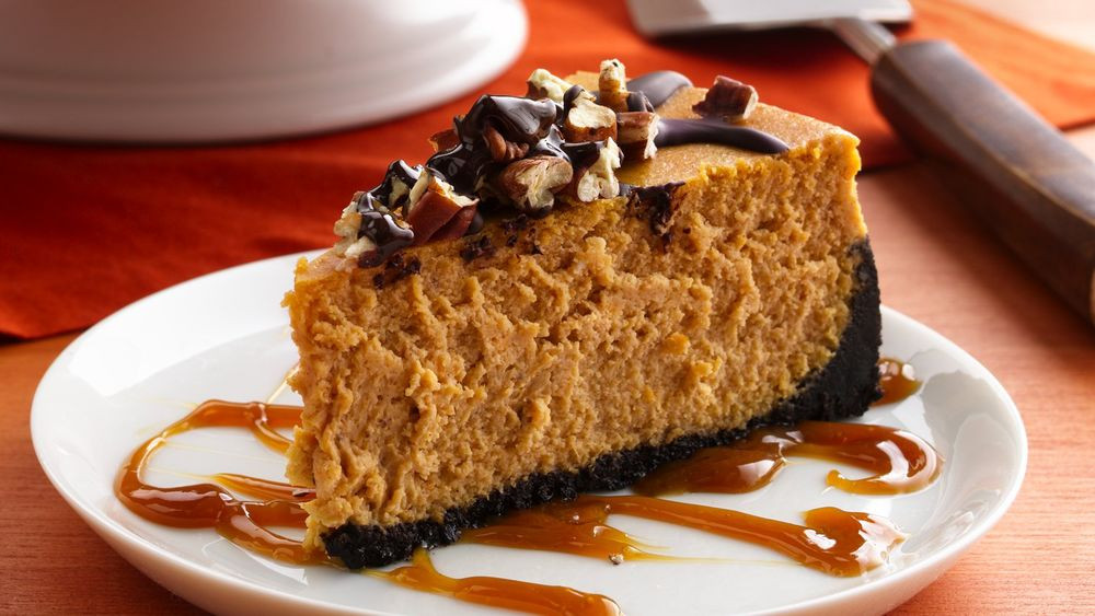 Turtle Cheesecake Recipe  Turtle Pumpkin Cheesecake recipe from Pillsbury
