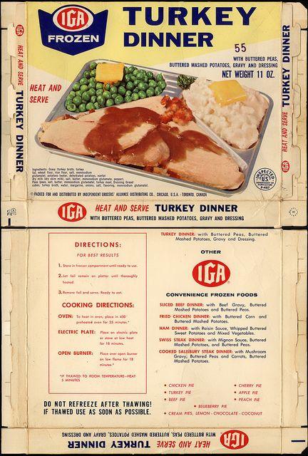 Tv Dinner Brands  IGA Turkey TV Dinner store brand box 1960 s by