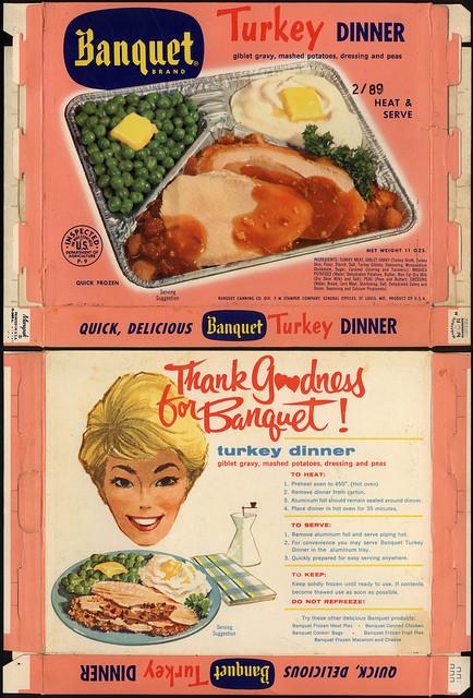 Tv Dinner Brands  Banquet Brand TV Dinner Turkey dinner box 1960 s