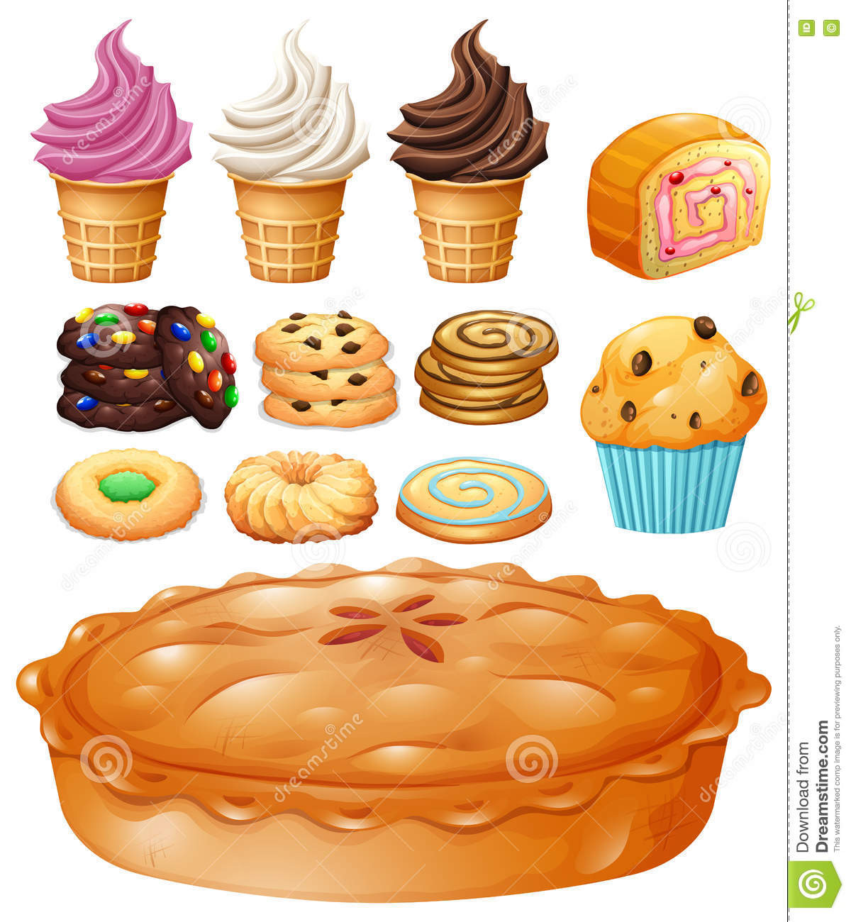 Type Of Dessert  Set Many Types Desserts Stock Vector Image