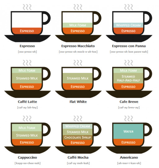 Types Of Coffee Drinks  Different Types of Coffee Drinks Illustrated