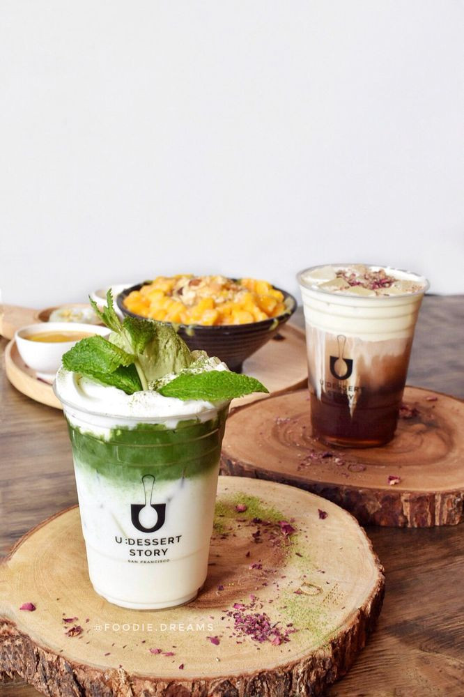 U Dessert Story  matcha float oolong tea cheese tea 05 18 18 Yelp