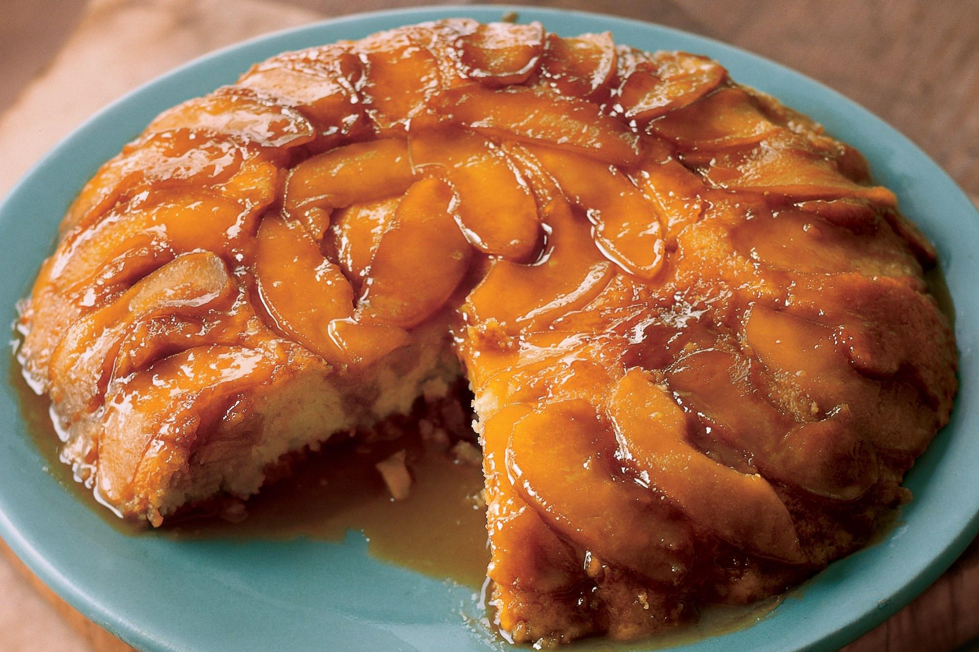 Upside Down Apple Cake  Upside Down Butterscotch Apple Sour Cream Cake recipe