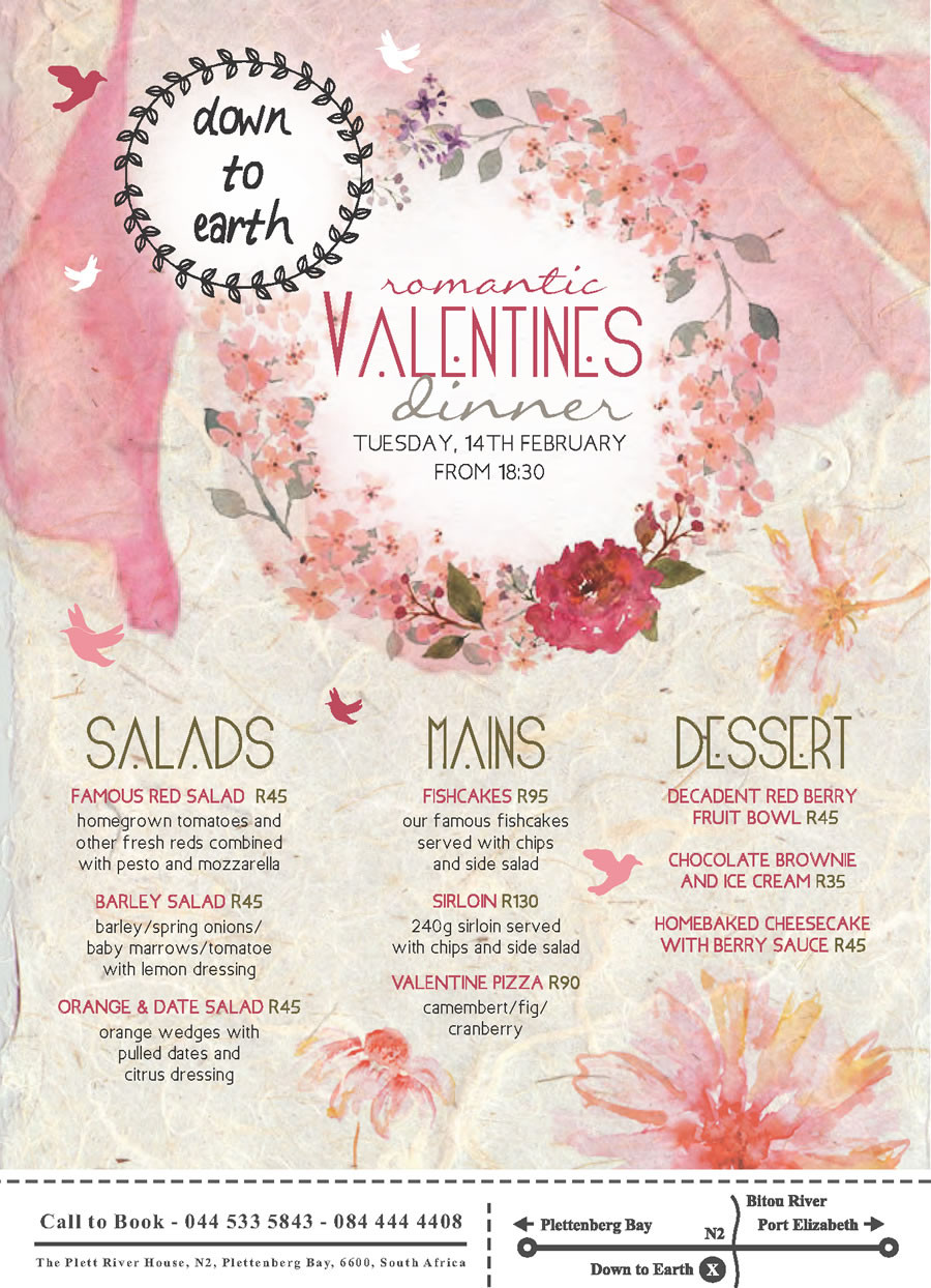 Valentine'S Day Dinner Specials  Valentine's Day specials in Plett Valentine s Day