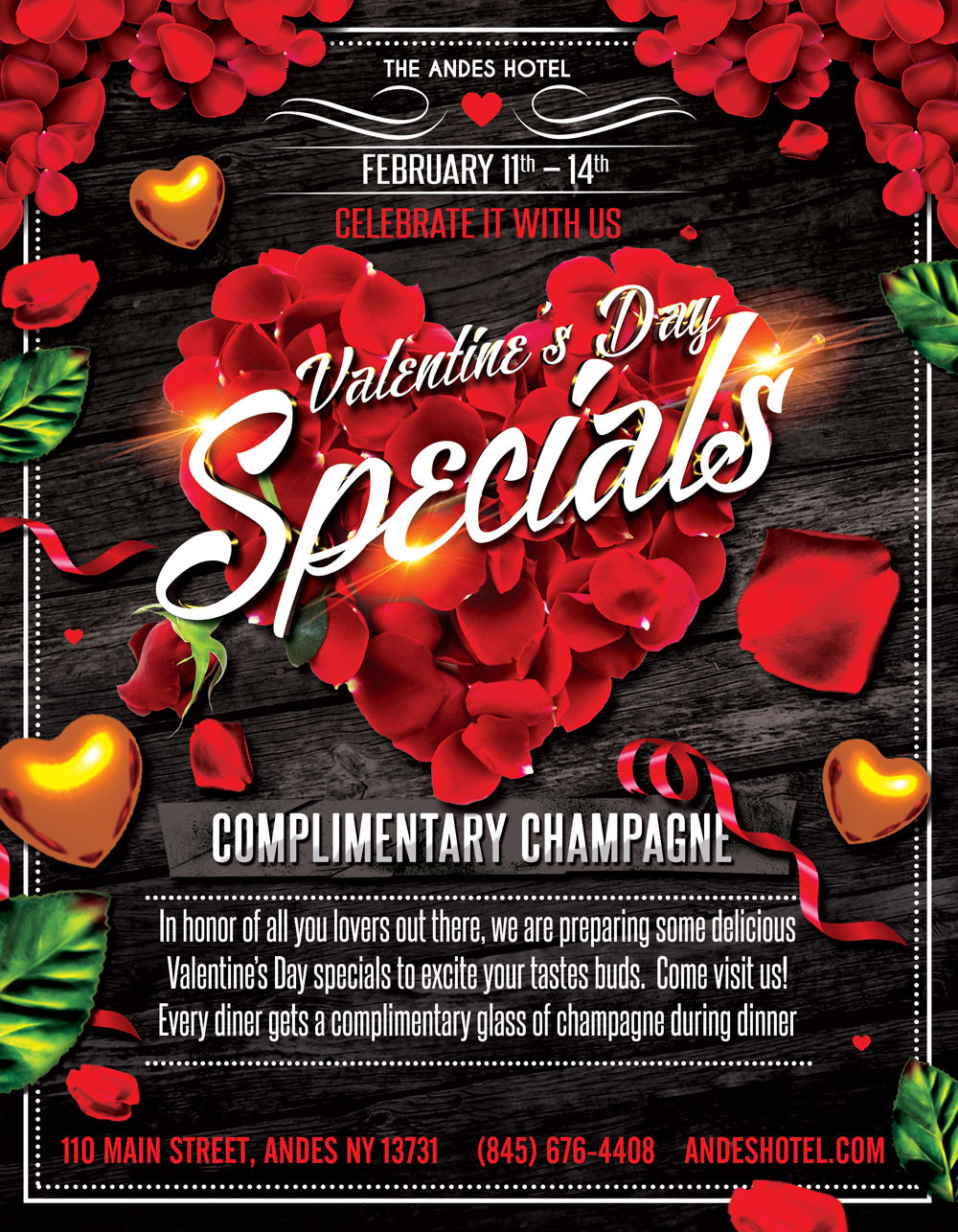 Valentine'S Day Dinner Specials  VALENTINE'S DAY SPECIALS AND PLIMENTARY CHAMPAGNE