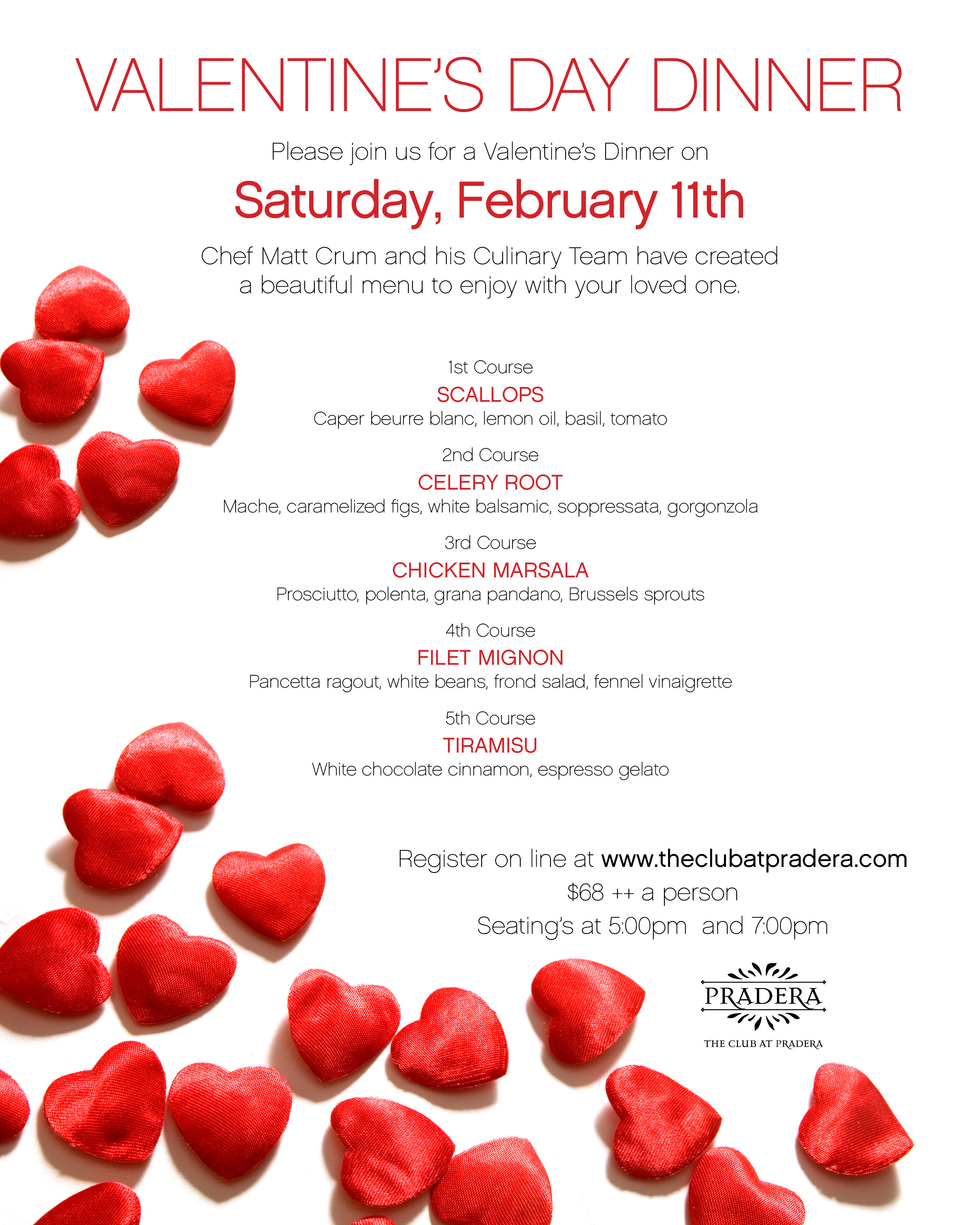 Valentine'S Day Dinner Specials  Valentine s Day Dinner The Club at Pradera