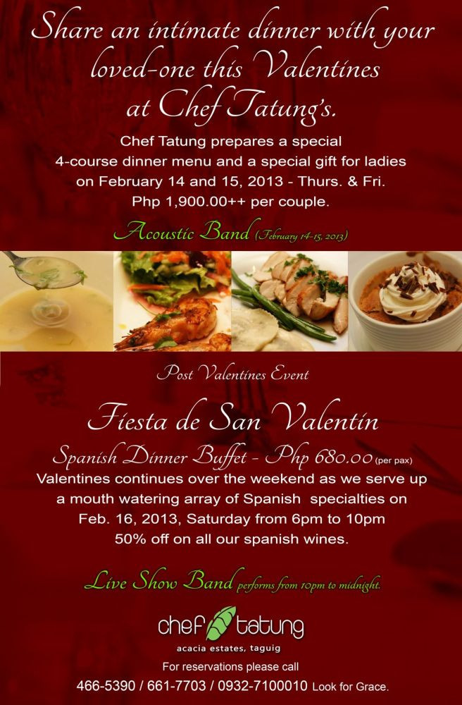 Valentine'S Day Dinner Specials  Where to Celebrate Valentine s Day in Metro Manila