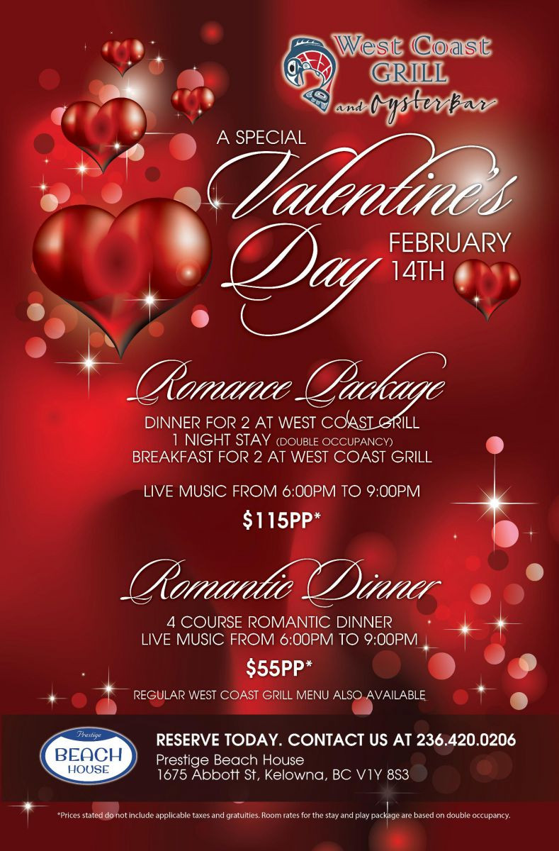 Valentine'S Day Dinner Specials  Valentine s Day at West Coast Grill
