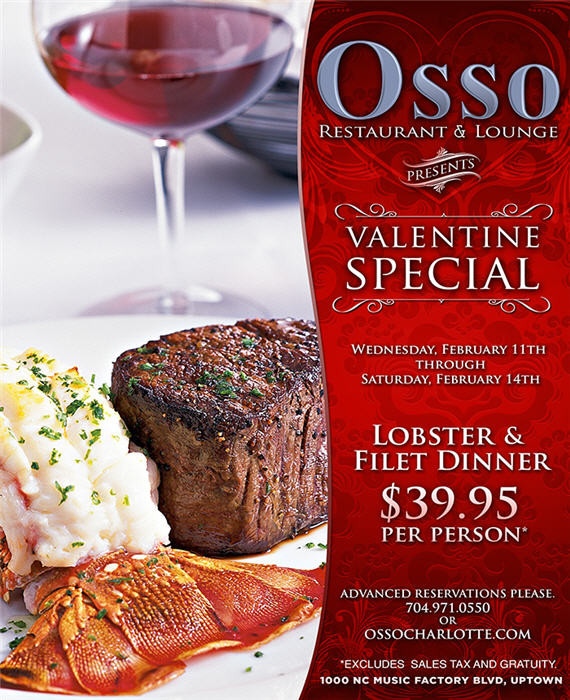 Valentine'S Day Dinner Specials  Osso's Valentine's Day Dinner Special