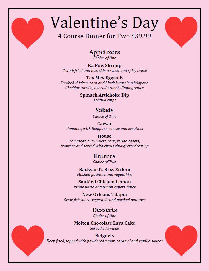Valentines Dinner 2017  Valentine s Day Dinner Backyard Grill Restaurant