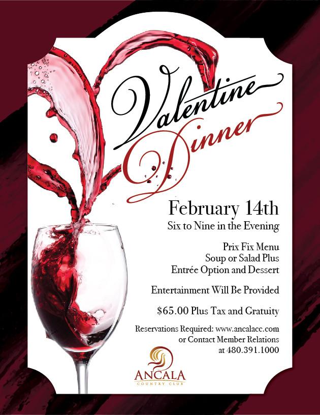 Valentines Dinner 2017  Valentine Day Wine Dinner Ancala Country Club