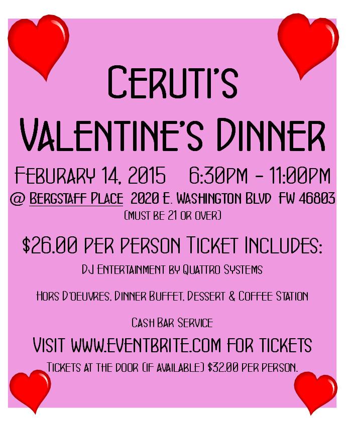 Valentines Dinner 2020  CERUTI S VALENTINE DINNER Tickets Sat Feb 14 2015 at 6