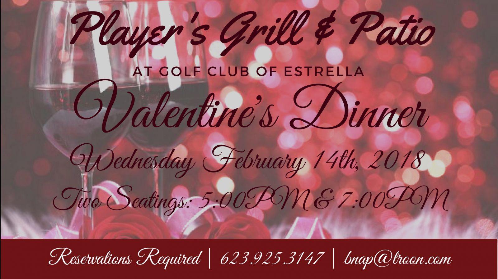 Valentines Dinner 2020  Arizona Golf Golf Club of Estrella 623 386 2600