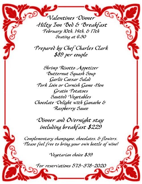 Valentines Dinner 2020  Valentine's Dinner at Hilty Inn Bed and Breakfast – Lake